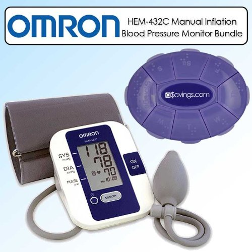 Cheap Omron HEM-432C Manual Inflation Blood Pressure Monitor Bundle (HEM-432C/K1)