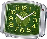 CITIZEN(リズム時計) 自動点灯・連続秒針アラーム サイレントミグ644 シルバーメタリック色 8RE644-019