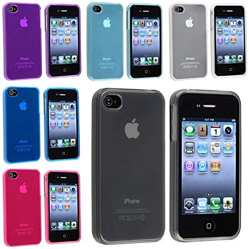 For Apple Iphone 4 4S Tpu Rubber Skin Case Combo (6-Pack): Clear Frost Smoke, Clear Frost Light Blue, Clear Frost White, Clear Frost Hot Pink, Clear Frost Dark Blue, Clear Frost Purple