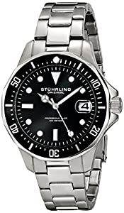 Stuhrling Original Men's 664.01 Aquadiver Quartz Black Dial Date Diver Watch