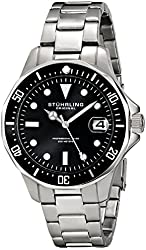 Stuhrling Original Men's 664.01 Aquadiver Quartz Date Stainless Steel Link Bracelet Diver Watch