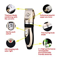 Professional Pet Dog and Cat Grooming Clipper and 4 Guards Cordless Low noise Rechargeable