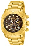 Invicta Pro Diver Men's Swiss Quartz Movement Watch with Brown Dial Chronograph Display and Gold Plated Stainless Steel Bracelet 14651
