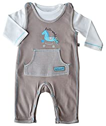 Babeez Baby Boy Romper Set with Solid Longsleeve T-Shirt (100% Cotton Interlock) to fit height 68 - 74 cms (9-12months)