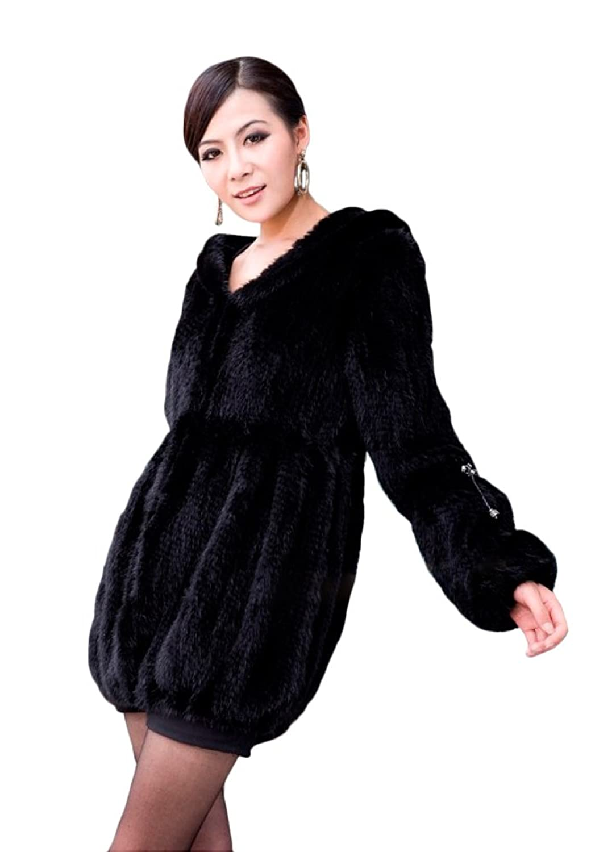 queenshiny Damen 100% Echte Strick Gestrickter Nerz Pelz Lange Mantel Jacket Outwear Mit Kapuze Winter Mode jetzt bestellen