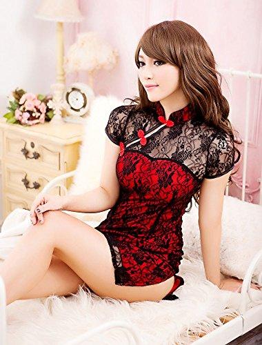 【C-mall】 赤x黒 透けレース エロかわ チャイナ ドレス (フリー, 赤)