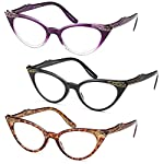 GAMMA RAY READERS 3 Pairs Ladies' Vintage Cat Eye Readers Quality Reading Glasses for Women - With +2.00 Magnification