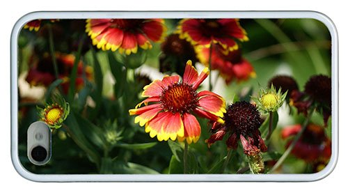 Stylish Iphone 4 Custom Covers Blanket Flowers Tpu White For Iphone 4/4S front-611188
