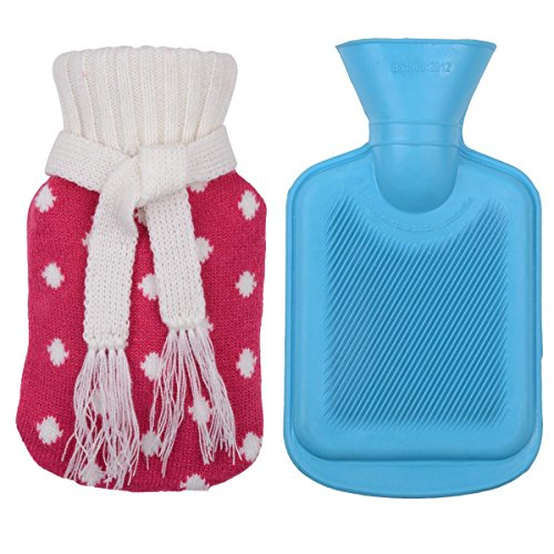 Children's Rubber Hot Water Bottle w/ Cute Knit Cover (500ML, Blue / Red with White Polka Dot)