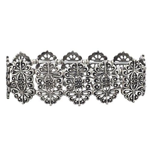 lux-accessoires-boho-argent-bruni-antique-en-filigrane-moulees-bracelet-elastique