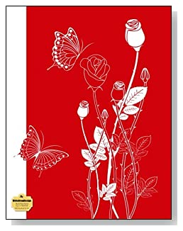 White Rosebuds On Red Notebook - Classy white and red drawing of rosebuds and butterflies make a dramatic cover for this blank and wide ruled notebook with blank pages on the left and lined pages on the right.