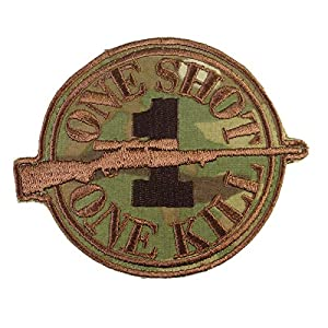 Multicam Sniper Sew/Iron on Écusson Patch Morale ONE SHOT ONE KILL Paintball