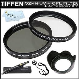 Tiffen 52mm Circular Polarizer Filter (CPL) + Tiffen 52mm UV Protection Filter For Nikon 18-55mm f/3.5-5.6G ED II AF-S DX Nikkor Zoom Lens (2170) + 52mm Lens Hood + Lens Cap Keeper + Lens Pen Cleaning Kit + MicroFiber Cleaning Cloth