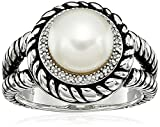 Sterling Silver 9-9.5mm Button Chinese Freshwater Cultured Pearl and Diamond Rope Ring, Size 7