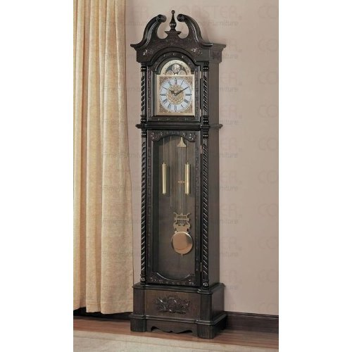 Deep Brown Finish Grandfather Clock By Coaster Furniture