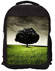 Snoogg Single Tree On Hill Backpack Rucksack School Travel Unisex Casual Canvas Bag Bookbag Satchel