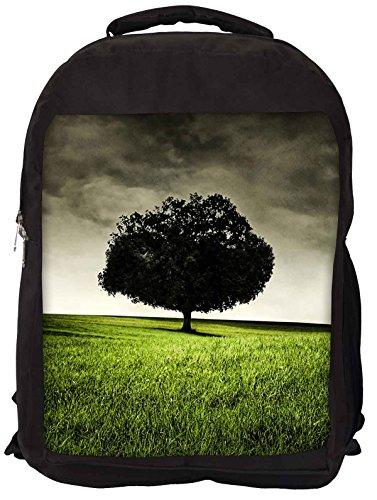 Snoogg Single Tree On Hill Backpack Rucksack School Travel Unisex Casual Canvas Bag Bookbag Satchel