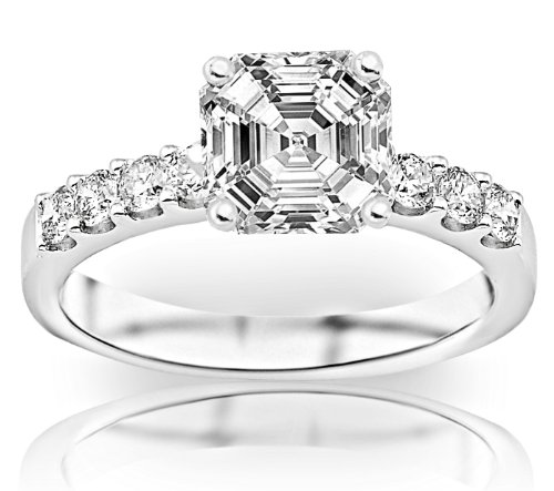 Where Can I Buy 1.31 Carat Asscher Cut / Shape GIA Certified Classic Prong Set Round Diamond Engagement Ring ( D Color , SI1 Clarity )