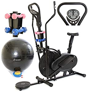 Gymmaster 3 in 1 Elliptical Exercise Bike & Cross Trainer in Black with AB Twister & Dumbbells & Gym Ball : CR-8.2GAH - 1 Year Warranty