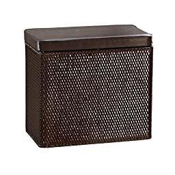 Lamont Home Carter Bench Wicker Laundry Hamper with Coordinating Padded Vinyl Lid, Chocolate by Lamont Limited
