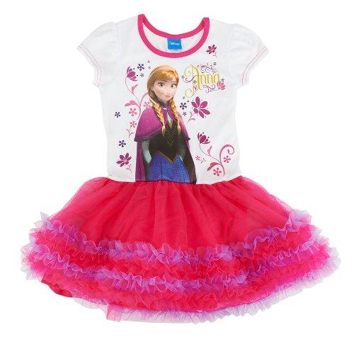 Disney Frozen Short Sleeve Shimmer Mesh Tutu Dress (Medium 5/6, Pink Anna)