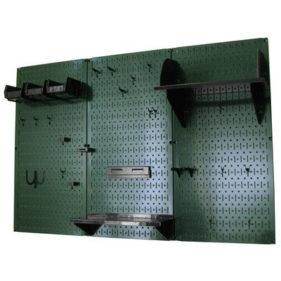 Wall Control 4ft Metal Pegboard Standard Tool Storage Kit - Green Toolboard & Black Accessories
