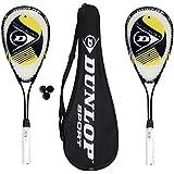 2 x Dunlop Biotec Titanium Squash Racket Set + 3 Squash Balls and Cover RRP £90