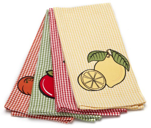 DII Mixed Fruit Applique Kitchen Towel, Set of 4