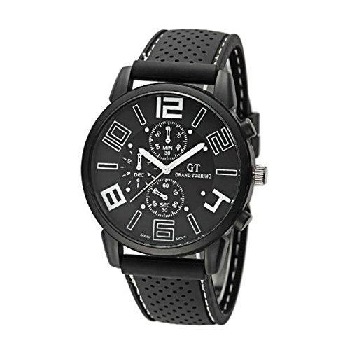 Kano Bak Racing Sport Watch Military Pilot Aviator Army Style Black Silicone Boy Men'S Gift Watches White