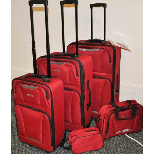 Springfield II TAG 5 Piece Upright Red Luggage Set Travel Bags