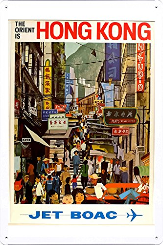 tin-sign-of-retro-vintage-travel-poster-hong-kong-jet-boac-20x30cm-by-nature-scene-painting