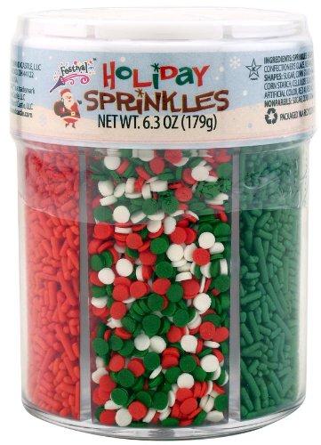Christmas Holiday Sprinkles (6 Cell Jar)