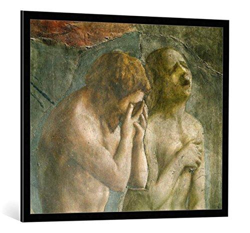 """Quadro con cornice: Tommaso Masaccio """"Adam and Eve banished from Paradise, c.1427"""" - stampa artistica decorativa, cornice di alta qualità, 100x85 cm, nero / angolo grigio"""