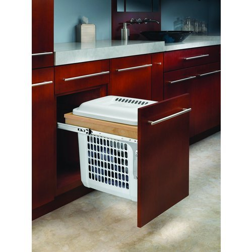 Rev-A-Shelf 4VHTM-1520DM-1 Vanity Top Mounted Hamper Wood Pull Out with Lid, Natural Wood