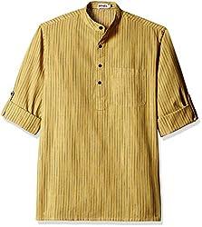 Fabindia Men's Mid-Thigh Cotton Kurta  (10423652_40_Yellow and Grey)