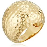 Metro Jewelry Stainless Steel Hammered Women's Ring with Gold Ion Plating