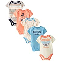 Nautica Baby-Girls Newborn 5 Pack Multi Print Bodysuits, Assorted