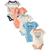 Nautica Baby-Girls Newborn 5 Pack Multi Print Bodysuits, Assorted