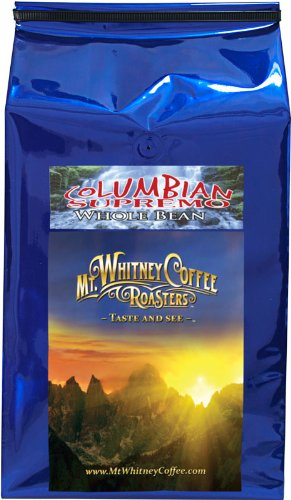 Mt. Whitney Coffee Roasters: 5 Lb, Shade Grown Columbia Supremo , Medium Roast, Whole Bean Coffee