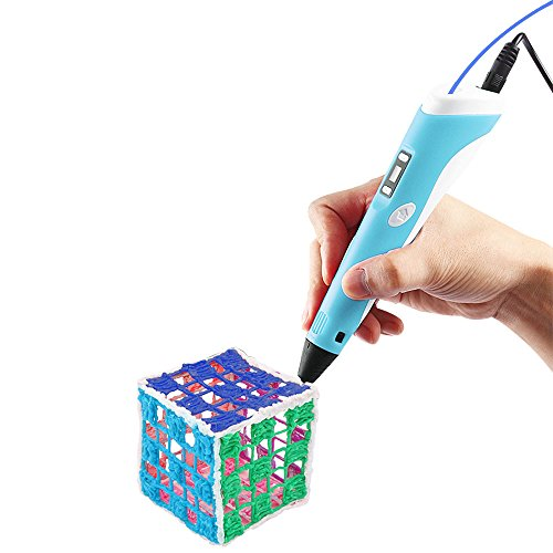 3D Printing Pen,Vcall Newest 3D Drawing Pen with LCD Screen and Doodle Model Making Arts and Crafts Drawing with ABS Material and Power Supply(Blue)