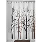 InterDesign Forest Shower Curtain, Gray and Black, 72 x 72-Inch