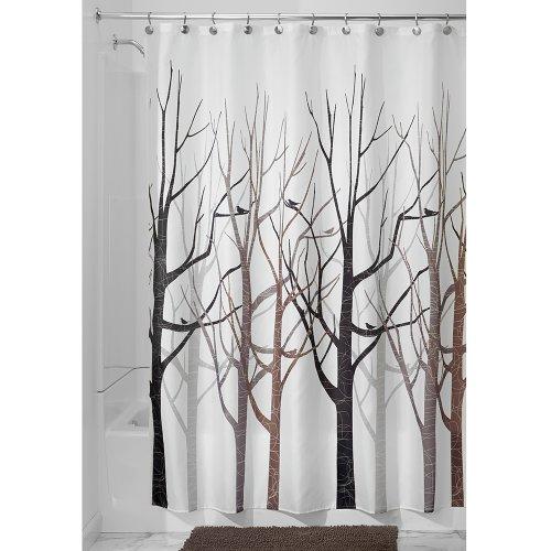 InterDesign Forest Fabric Shower Curtain 72 X 72 Black Gray New EBay