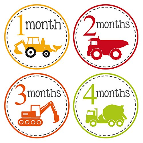 Pinkie Penguin Trucks Baby Monthly Stickers - Milestone Onesie Stickers - Baby Boy - 1-12 Months - Baby Shower Gift