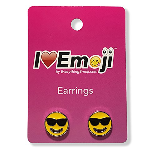 Everything-Emoji-Sunglass-Face-Silver-Stud-Earrings-Cute-Emoticon-Jewelry-Gifts-Accessories