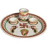 Marble Puja, Pooja Thali- Traditional Rajasthan Shagun Thali With Gold Work Marble Pooja & Thali Set 2 Bowls,...