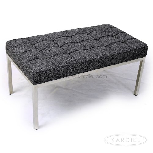 Kardiel Florence Knoll Style Bench 2 Seater, Carbonite Houndstooth Twill