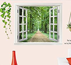 New 2016 New DIY Wall Stickers 3D Beautiful Window View of Forest Alley Wallpaper Art Decor Mural Kids Room Decor Home Decoration AY823