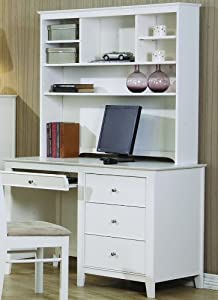 Selena White Computer Desk with Hutch by Coaster Furniture from Coaster Furniture
