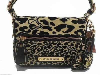 Juicy Couture Handbag Phoebe Black Multi Leopard Print Shoulder Bag