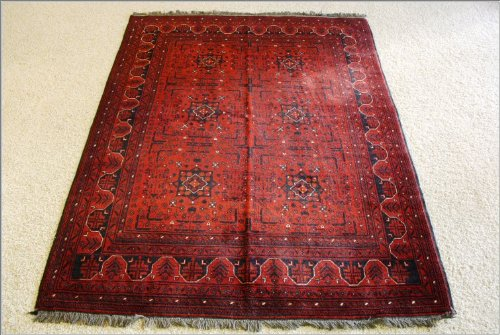 5x6 Red Hand Woven Traditional Khal Mohamad Rug